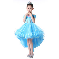 Girl short front long back girls dress - High Low Blue Little Girls Pageant Dress Halter Neck Organza Long Back Short Front Kids Ball Gown Custom Made