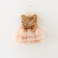 baby bow beige - New Summer children princess dress girls sequins backless tiered tulle tutu dress kids party dress Valentine s Day baby clothes A7469