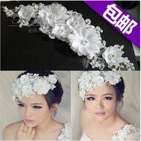 beautiful headdress flower - 2016 Fsahion Beautiful Bride Lace Headdress Flower Pearl Headwear for Woman Wedding Accessories Acessorio Para Cabelo