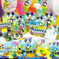 Wholesale 15kind sets Mickey party decorated dinner plates props baby birthday suit luxury packages Children s theme packages