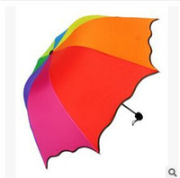 Wholesale 2015 new plain simple three folding umbrellas rainbow arched Apollo princess umbrella folding umbrella UV