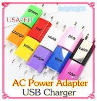 Wholesale 2000PCS AC Power Adapter US Plug USB Wall Travel Charger US EU Adapter for iphone S for Samsung Galaxy Cellphones Multi color DD03