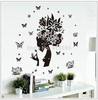 Wholesale Black Transparent Removable Floral Fairy D Art DIY Vinyl Wall Decals Stickers Home Decor