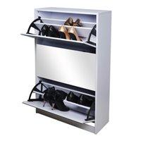 wood mirror - Mirrored Shoe Cabinet Furniture Rotating Doors Wood Shoe Rack Closet for Enterway USA Stock