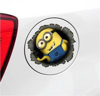 Wholesale Despicable Me Minions Cute Funny Cartoon Glue Sticker Car Decal Covers Waterproof Reflective on fuel tank