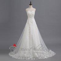 Wholesale Cheap Wedding Dresses Applique Bridal Gowns Sweetheart Neckline Sweep Train Zipper Back Custom Made Sleeveless Elegant Tulle Real image