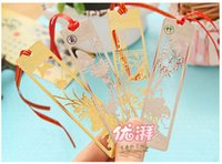 Wholesale Top quality Delicate metal Chinese wind bookmarks quot Plum orchid bamboo chrysanthemum quot classical creative gifts metal bookmark