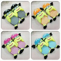 ladies slippers - LJJG203 pairs Lady Minions Slippers Korean Style Cartoon Cotton Indoor Slippers Women Winter Warm Plush Slippers