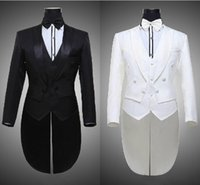 Cheap Custom Made White and Black Grey for Groom Wear Tuxedos Notch Lapel Best Man Groomsman Men Wedding Suits Bridegroom (Jacket+Bow+Vest)