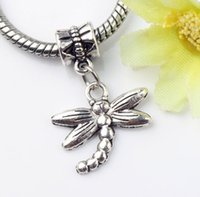 big insects - 18 x27mm Tibetan Silver Dots Flying Dragonfly Insect Metal Big Hole Beads Dangle Fit European Charm Bracelets Jewelry DIY B176
