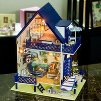 Wholesale Leisure Time in Bali island Tropical marine style Large DIY Doll house D Miniature Lights Wood Handmade kits Building model Toy