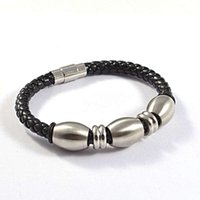 Wholesale Fashion stainless steel beads weave leather bracelets jewelry for men SB01412