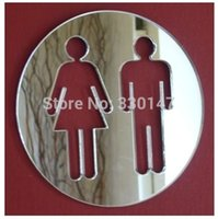 acrylic door signs - New toilet door sign men women bathroom acrylic d mirror surface wall sticker direct selling home decoration