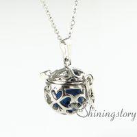 clover necklace - four clover openwork diffuser necklace essential oil diffuser necklace essential oil pendant