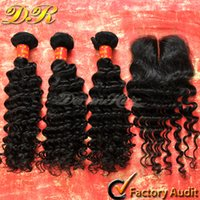 Wholesale Lace Closure With Bundles Unprocessed A Brazilian Malaysian Peruvian Deep Wave Virgin Human Hair Weft Weave Extension