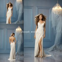 Wholesale New Casual Beach Wedding Dress Spaghetti Straps Sexy Cross Backless Side Split Flowy Chiffon Bridal Dress HS316