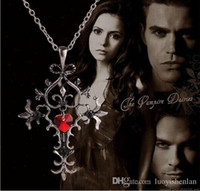 Wholesale 2015 The Vampire Diary Pingente Heart Cross Necklace Unisex Metal Jewelry Necklace Pendants Rushed Fashion zinc alloy cross Movie jewelry