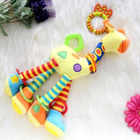 Wholesale Cotton Infant Baby Development Soft Giraffe Animal Handbells Rattles Handle Toys Hot Selling