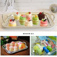 afternoon snacks - European metal cake tray rectangular dish afternoon snack of fruit dessert tray wedding ornaments