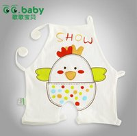 Cheap New summer newborn Chinese-style chest covering cartoon printing baby Burp Cloths pure cotton infant Feeding clothing 30pcs lot ab1401