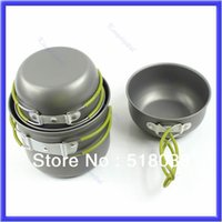 Wholesale E79 Outdoor Camping Hiking Cookware Backpacking Cooking Picnic Bowl Pot Pan Set