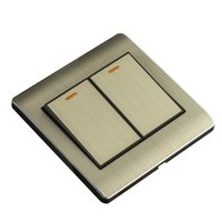 Wholesale KRST Tyrant gold brushed aluminum household wall switch socket switch two billing control two single control