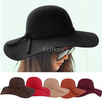 Wholesale Retro Ladies Women Wool Felt Fedora Floppy Cloche Wide Brim Bowknot Hat Cap fx223