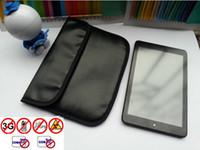 Precio de Teléfonos celulares casos de cuero-Nuevo cuero negro de la PU Anti-radiación Anti-Señal RFID información seguridad paquete caso bolsa para ipad mini Teléfono celular