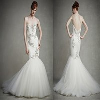 Wholesale 2015 Mermaid Wedding Dresses Ivory Crepe Sweetheart Zipper Backless Wedding Gowns With Applique Crystal Beads For Court Train Bridal Gowns