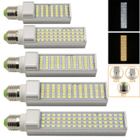 Wholesale 2015 LED Horizontal Plug Light E27 G23 G24 Pure Warm White W W W W W V LED Bulbs Lamps Spotlights