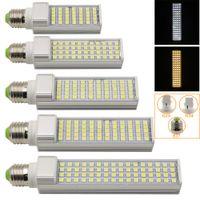 Wholesale 2015 LED Horizontal Plug Light E27 G23 G24 Pure Warm White W W W W W V LED Bulbs Lamps Spotlights