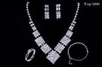 Wholesale Fashion Silver Crystal Rhinestone European Style Bridal Jewelry Sets Wedding Necklace Earrings Rings Bracelets top