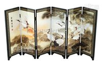 antique chinese screens - Chinese Lacquer Painting Beautiful Folding Screen Songhe pattern