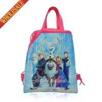 Wholesale New Cute Hot Movie Princess Froze Elas Kids Cartoon Drawstring Backpack Bags School Handbags Children s Bags kids Party Gift cm