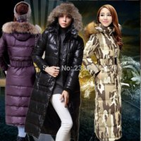Wholesale New High Quality Women Duck Down Jacket Long Camouflage Coat With Fur Hoodied Warm Winter Outwear Parka Plus Size