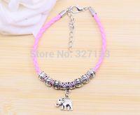 Cheap Charm 10pcs Pink Braided Leathe Bangle & Bracelet Tibetan Silver Alloy Baby Elephant Beads Boys And Girls Bracelet 18cm S5275