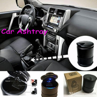 Wholesale Unique modern and easy to clean LED light automatic car ashtray portable plastic holder DHL
