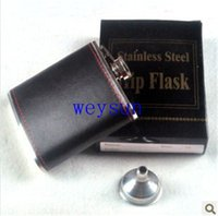 Wholesale 6oz Stainless Steel Liquor wine Flask with leather surface