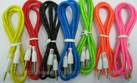 Wholesale 3 mm Stereo Audio AUX Cable Braided Woven Fabric wire Auxiliary Cords Jack Male to Male M M m Lead for Iphone c s Itouch Mobile Phone