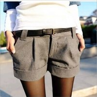 Wholesale 2015 autumn and winter women s turn up straight woolen bootcut short pants plus large casual shorts black grey