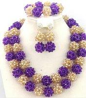 Wholesale Handmade Chunky Gold African Wedding Jewelry Sets Nigerian Beaded Wedding Necklace Set GS218