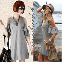 Cheap Summer European Style Cute Strapless Cap Sleeve Lotus Sleeve Knit Dress Big Yards Causal Dresses Women's Clothing