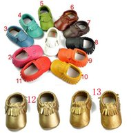 Wholesale Genuine leather tassels moccasins soft leather baby first walkers shoes
