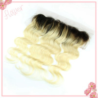 Wholesale 13x4 quot dark roots b body wave wavy virgin brazilian hair two tone ombre blonde lace frontal closure bleached knots with baby hair