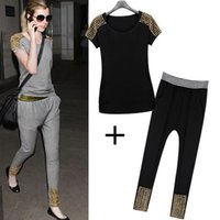 Wholesale FG1509 Fashion Summer Casual Slim Pants Short sleeve T shirt Sports Suit Women Clothing Sets Metal Rivets Women Cotton Sportswear Set