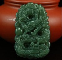 Wholesale Natural AAA green jadeite jade charm pendant good luck hand carved dragon pendant beads necklace