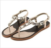 Cheap Rhinestone leather thong sandals for women 2015 hot retro soft sparkling ladies beach sandals flats wedge dress shoes