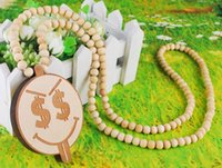 rosary necklace - Long section of wooden hip hop jewelry necklace rosary necklace smiley paragraph jewelry