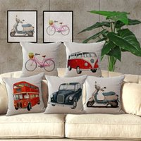 Wholesale Vintage car cotton sofa cushion covers Paris by bus taxi home decorative pillow covers cushions home decor