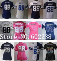 best quality china - Factory Outlet Cheap Women Dez Bryant blue white pink split gray jersey for girl lady fashion thanksgiving best quality China Authentic